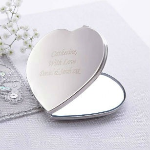 Christmas gift Personalised love heart compact mirror