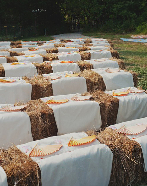 Hay bales as wedding seating | Confetti.co.uk