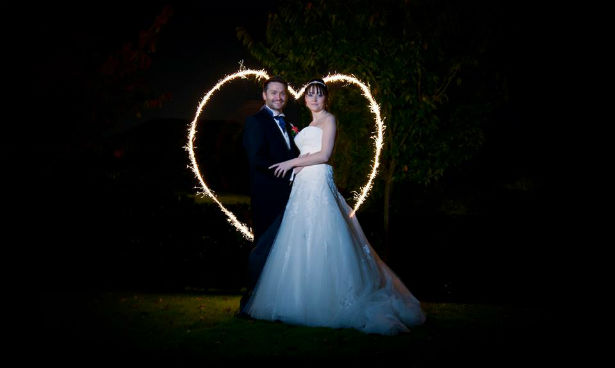 Sparkler love heart by Fabulous Wedding Photography