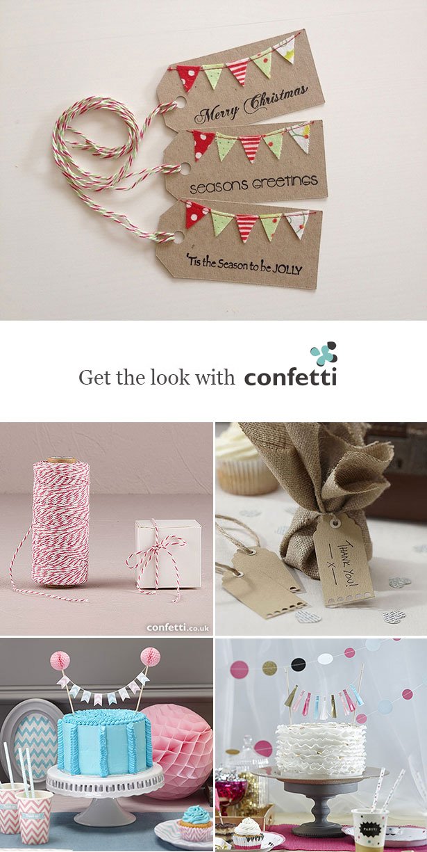 Creative gift wrapping |Mini bunting gift tags | Confetti.co.uk