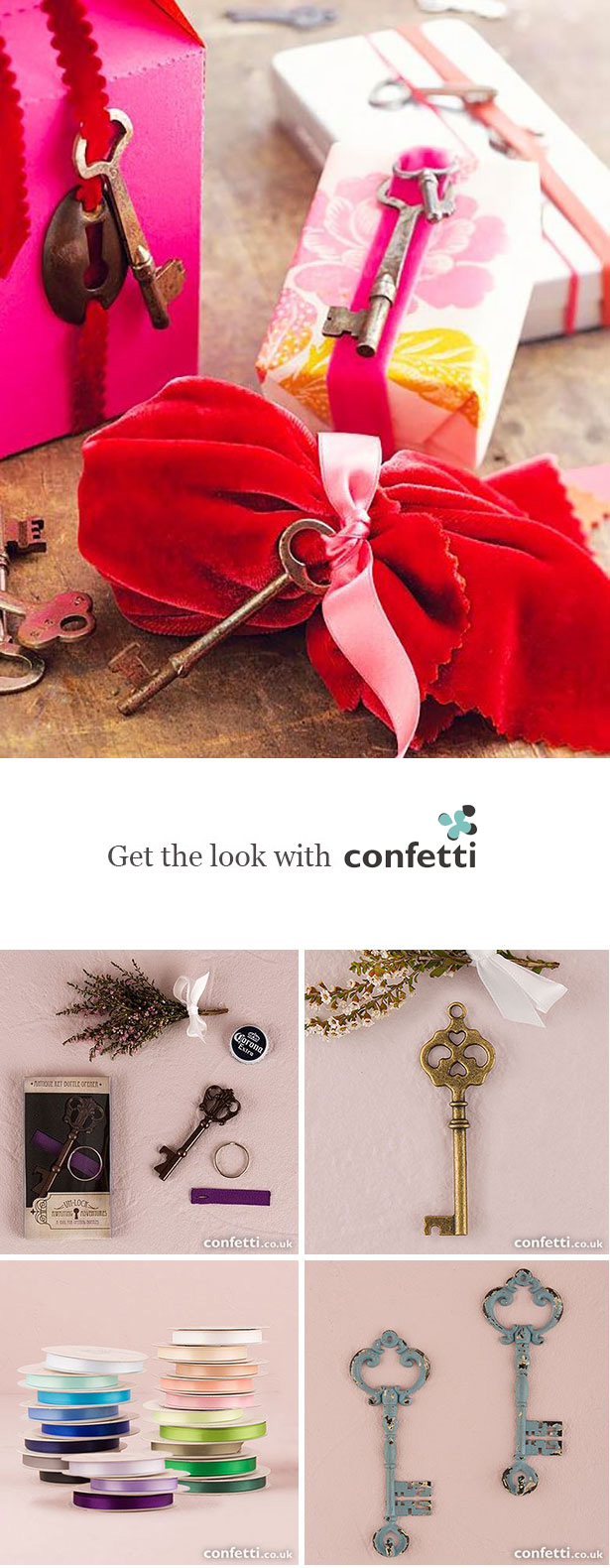 Creative gift wrapping |Key charm gift tags | Confetti.co.uk