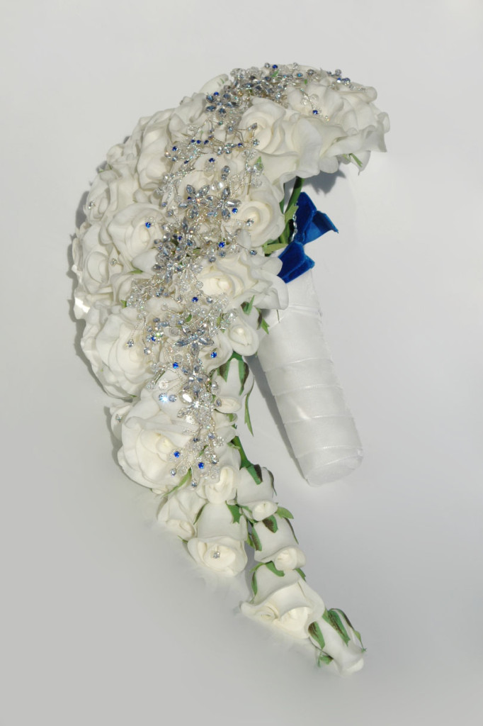 Laurain Long Rose Brooch Bouquet from Silk Blooms | Confetti.co.uk