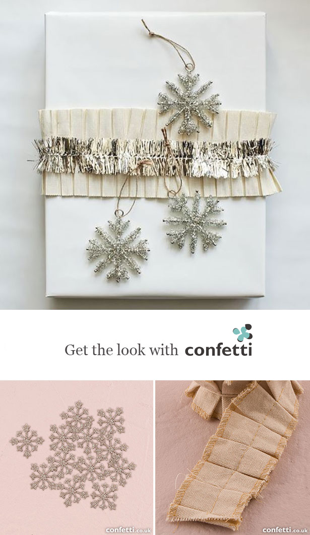 Creative gift wrapping | Snowflake Christmas gift wrapping| Confetti.co.uk