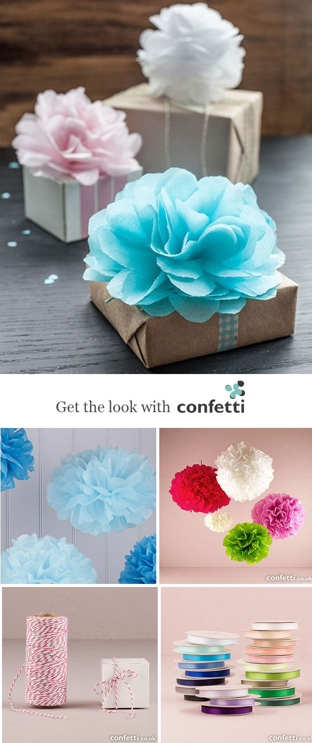Creative gift wrapping |Tissue flower gift wrapping | Confetti.co.uk