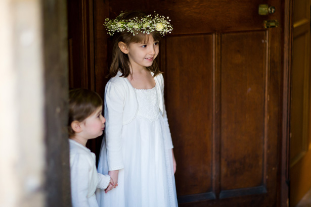 Flower girls arriving at the ceremony | Abigail and Chris's Real Christmas Wedding | Confetti.co.uk