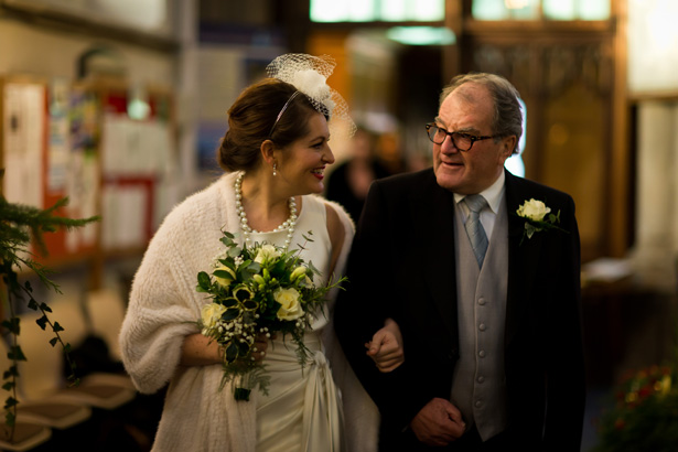 Bride with her father | Abigail and Chris's Real Christmas Wedding | Confetti.co.uk