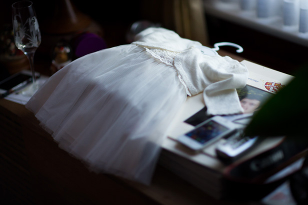 White flower girls dress | Abigail and Chris's Real Christmas Wedding | Confetti.co.uk