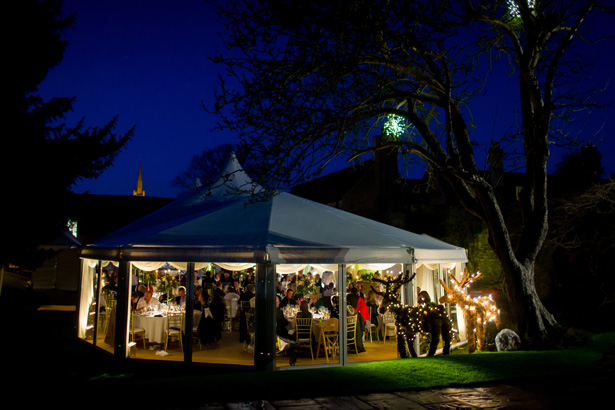 Wedding reception in a marquee | Abigail and Chris's Real Christmas Wedding | Confetti.co.uk