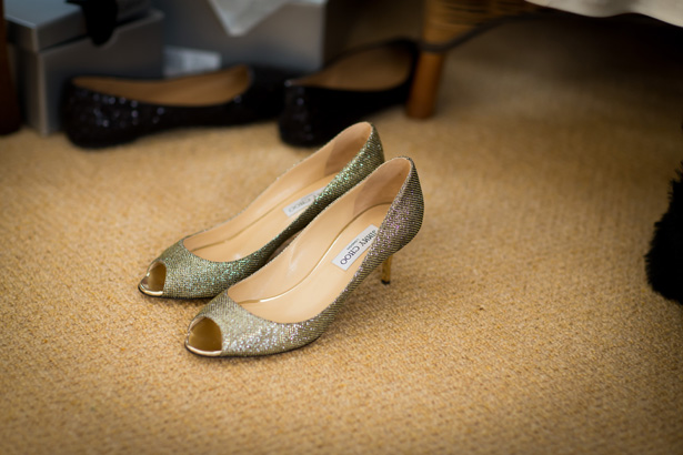 Gold peptoe Jimmy Choos | Bridal wedding shoes | Abigail and Chris's Real Christmas Wedding | Confetti.co.uk