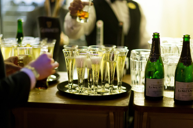 Champagne reception| Abigail and Chris's Real Christmas Wedding | Confetti.co.uk