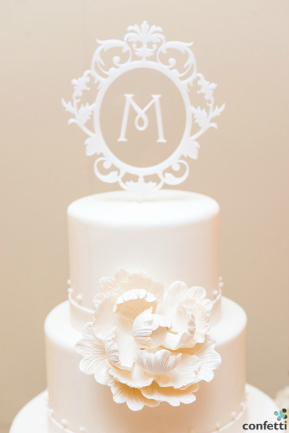 Classic White wedding theme cake topper from Confetti.co.uk