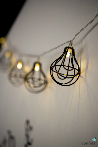 Industrial Chic Wire Frame Lightbulb Garland from Confetti.co.uk