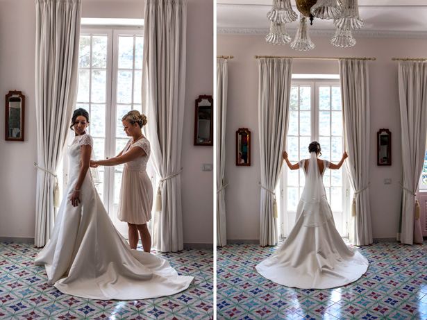 Bridesmaid helping the bride with her dress | Wedding moments you want to capture | Leanne and Chris's Real Italian Wedding | Confetti.co.uk