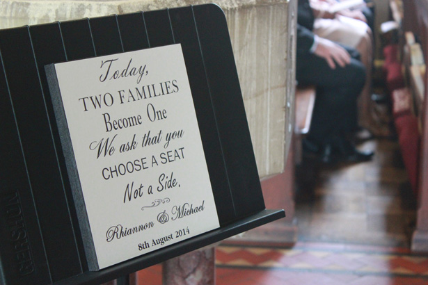 Today two families become one. We ask that you choose a seat, not a side | Purple themed wedding| Rhiannon & Michael's Real Wedding | Confetti.co.uk