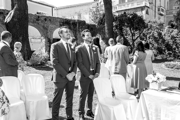 The groom and best man waiting for the bride at the ceremony in Ravello, Italy | Leanne and Chris's Real Italian Wedding | Confetti.co.uk