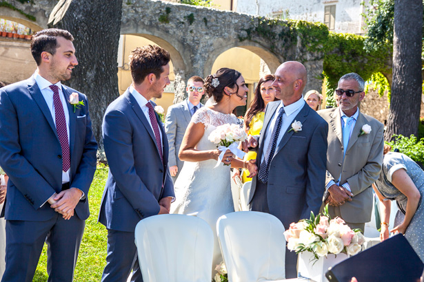 The groom and bride together at the ceremony in Ravello, Italy | Leanne and Chris's Real Italian Wedding | Confetti.co.uk