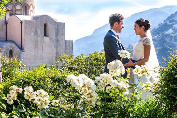 Official wedding shoot by Debbie Sanderson Wedding Photography| Bride and groom in the garden at the Ravello, Italy | Wedding moments you have to capture | Leanne and Chris's Real Italian Wedding | Confetti.co.uk