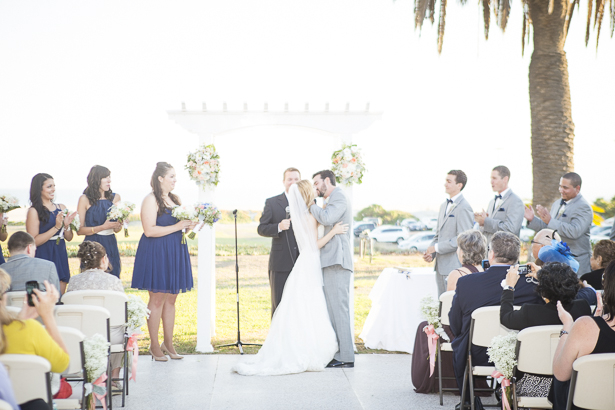 The first kiss and husband and wife | Outdoor wedding ceremony ideas | Beach wedding | Crystal & Giampaolo California Real Wedding |Destination Wedding America | Confetti.co.uk