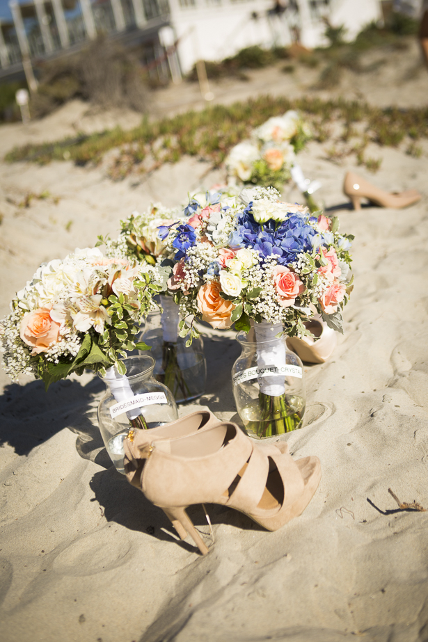 Bridal bouquet with blush pink roses and white and blue hydrangeas  | Crystal & Giampaolo California Real Wedding |Destination Wedding America | Confetti.co.uk