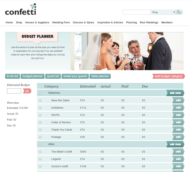 Free Online Wedding Planning Tools with Budget Planner | Confetti.co.uk