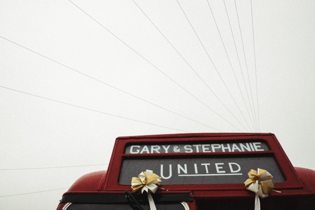 Personalised wedding message on the vintage red London bus   Fun wedding ideas   Steph and Gary's Real Garden Wedding   Confetti.co.uk