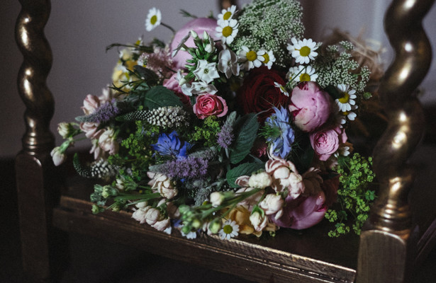 Wilde flowers and rose bridal bouquet   Rustic themed wedding flower ideas  Steph and Gary's Real Garden Wedding   Confetti.co.uk