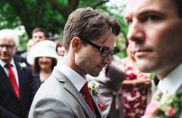 The groom waiting for the bride | Garden wedding ideas | Steph and Gary's Real Garden Wedding | Confetti.co.uk