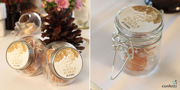 Vintage Wedding favour Ideas | Mini Vintage Jars | Vintage Stickers | Confetti.co.uk