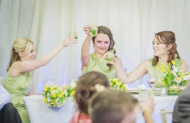 Bridesmaids toasting the marriage | Spring wedding theme ideas | Wedding at the Deer Park country house | Nadine and Roberts Real Wedding | Confetti.co.uk
