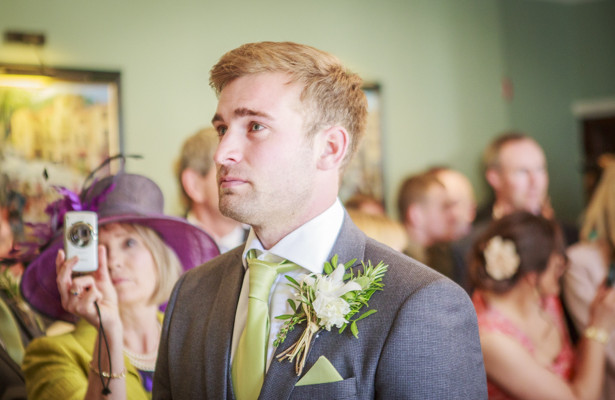 Emotional groom before the ceremony | Wedding moments | Wedding ceremony at the Deer Park country house | Nadine and Roberts Real Wedding | Confetti.co.uk