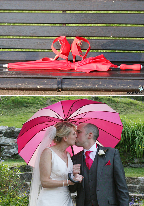 Real Wedding Colourful Umbrellas | Confetti.co.uk