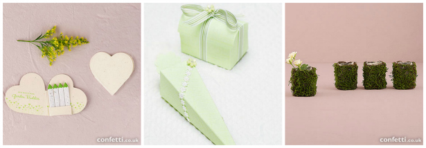 Green inspired wedding favours from Confetti.co.uk