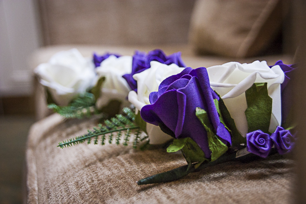 Purple and white foam flower bouquets | Precious and Jerald's real wedding | Confetti.co.uk