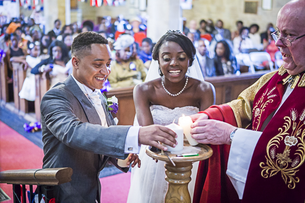 Unity candle ceremony | Precious and Jerald's real wedding | Confetti.co.uk