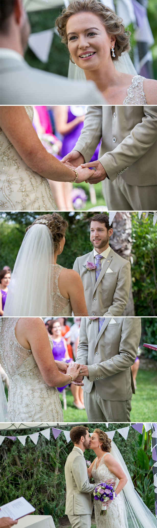 Bride and groom exchanging vows in an outdoor wedding ceremony   Wedding ceremoyn at Monte Da Quinta resort in Almancil, Portugal   Marina and Gary's lavender real wedding   Yes I do! Algarve Wedding Photography   Confetti.fo.uk