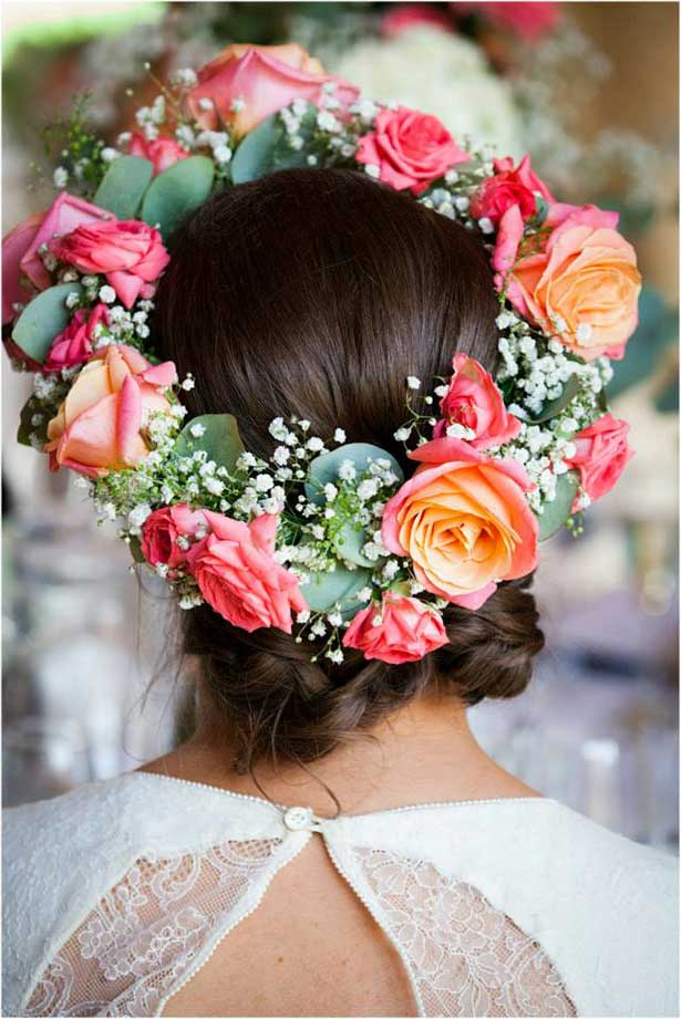 Boho wedding hair style | Rose floral crown wreath | Lauren and David's real wedding | Confetti.co.uk