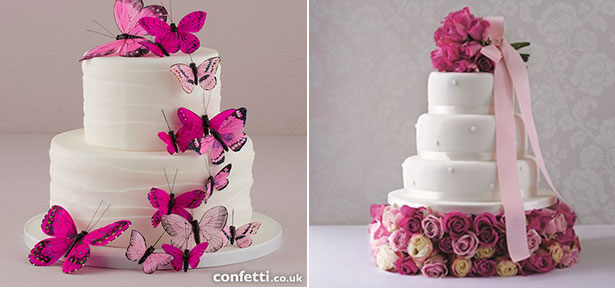 Ombre pink wedding cake ideas | Butterfly wedding cake | Rose wedding cake | Confetti.co.uk