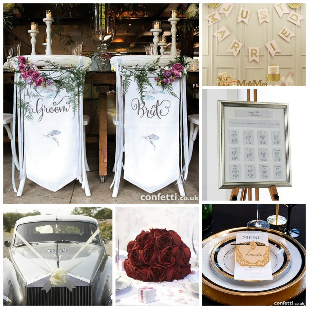 Bride and groom chair banner set| Confetti.co.uk