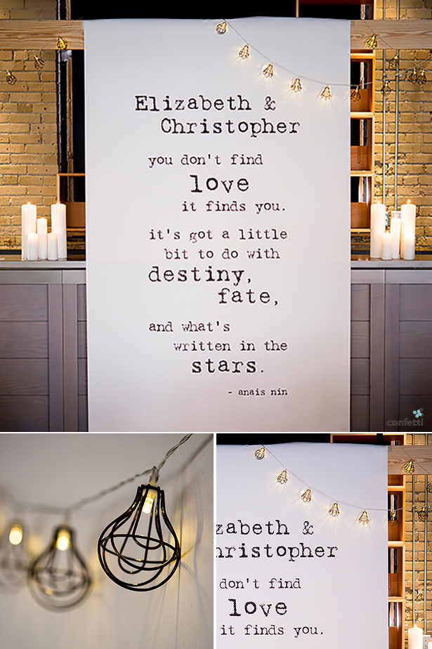 6 must have itens for your chic city wedding | Personalised backdrop and caged light blubs | Confetti.co.uk
