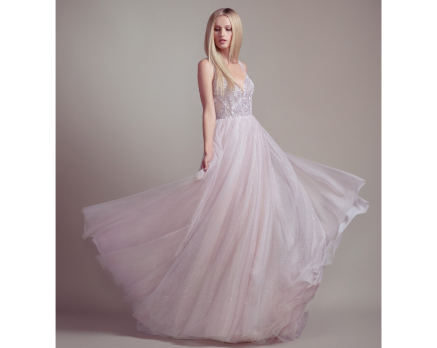 Pink and silver wedding dress