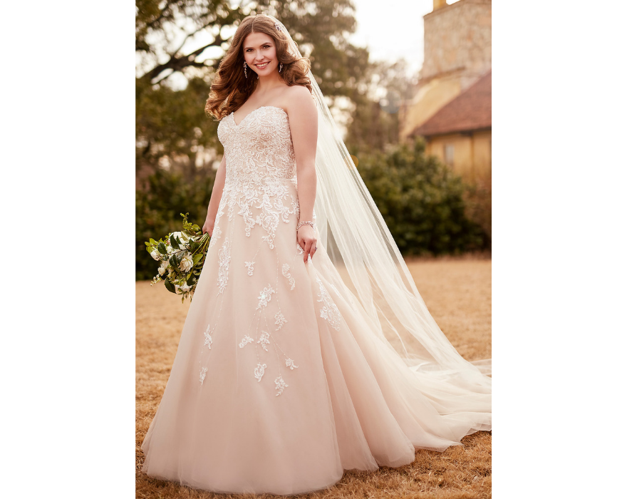 Strapless bridal gown in pink