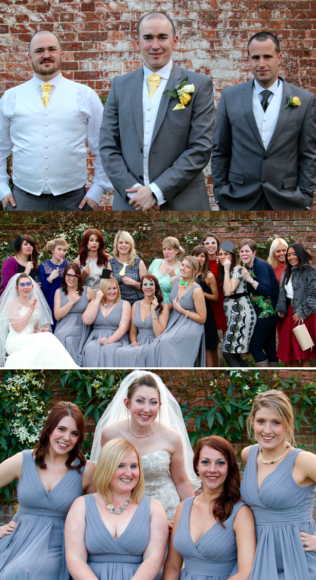 The newlyweds with their bridesmaid and groomsman | Wedding photos you have to take | Lynn and Mark's Grey and Yellow wedding | Confetti.co.uk