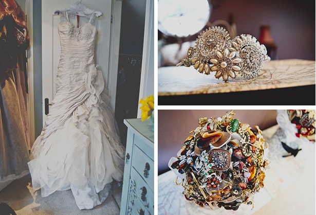 Ian Stuart wedding dress with handmade brooch bouquets | Georgina and Edward's real wedding | Confetti.co.uk