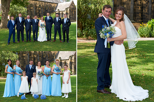 The bride and groom with their bridal party | Off the shoulder blue bridesmaid dresses | Charlotte and Alan's Country Themed Wedding | More real wedding inspiration at Confeti.co.uk