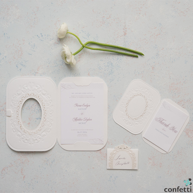 Pearls and Lace Laser Embossed Invitations | Confetti.co.uk