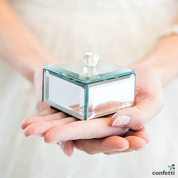 Mini beveled mirror box | Confetti.co.uk