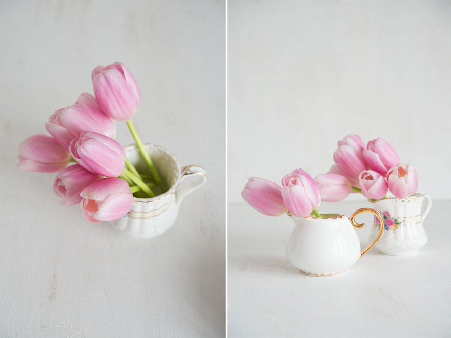 Pretty Pink Spring Tulips in Vintage Mini Milk Jugs | Confetti.co.uk
