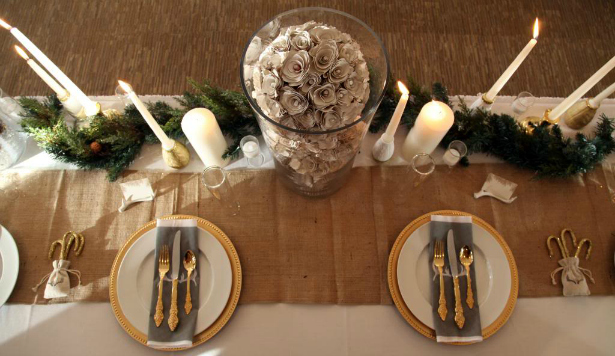 Place settings for a winter wedding reception | Confetti.co.uk