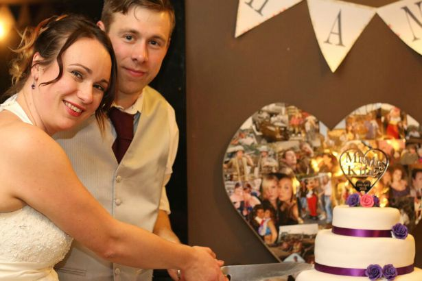 Bride and groom cut the cake at Jess and Ryan's real wedding | Confetti.co.uk