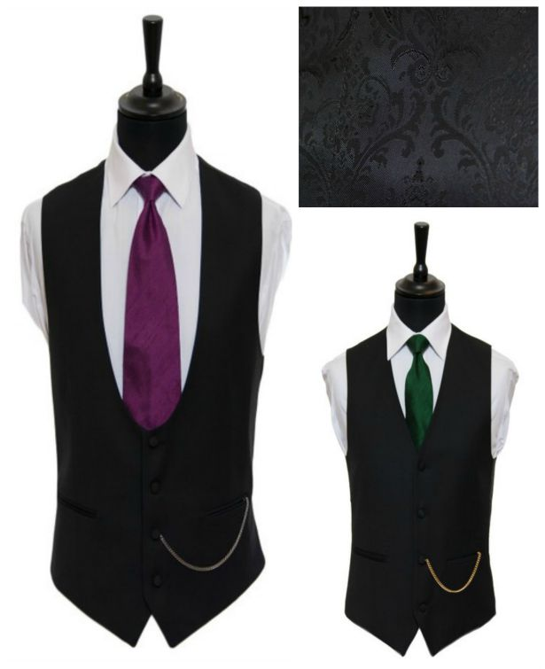 Forest green and purple ties with two styles of black jacquard waistcoats by Hugh Harris | Confetti.co.uk